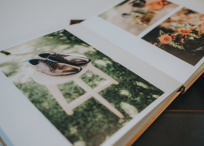 Album photo mariage en bois