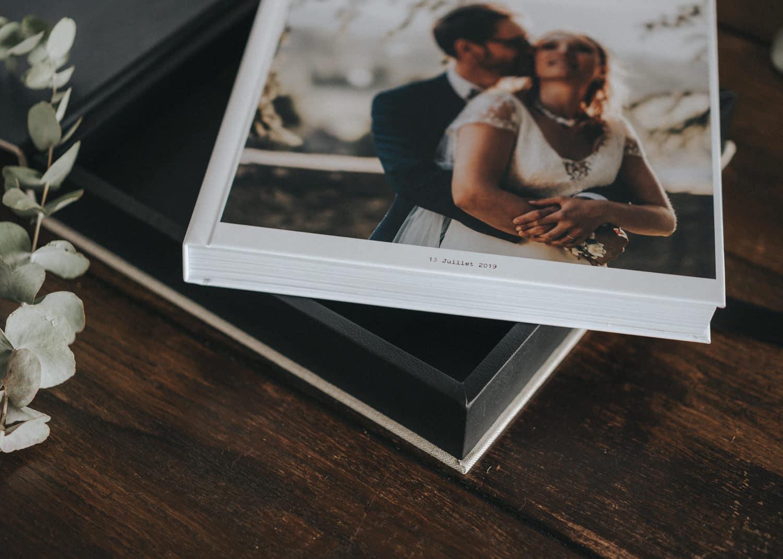 Album photo mariage en tissu